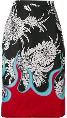 Prada floral and flame print pencil skirt