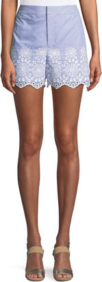 Club Monaco Vannah Scalloped Floral Eyelet Seersucker Shorts