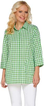Joan Rivers Classics Collection Joan Rivers Gingham Boyfriend Shirt with 3/4 Sleeves