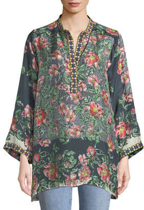 Johnny Was Kish Floral-Print Silk Tunic