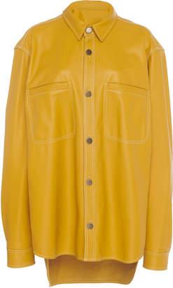 Oscar de la Renta Leather Collared Button Front Shirt