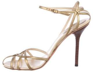 Gucci Metallic Leather Strap Sandals