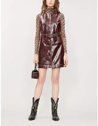 Ganni Sleeveless button-down faux-patent dress