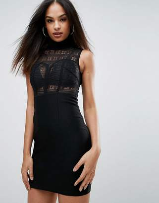 Rare High Neck Lace Bodycon Dress