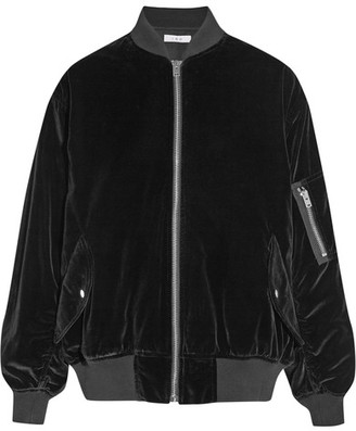 IRO - Oversized Cotton-velvet Bomber Jacket - Black $640 thestylecure.com
