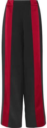 Marni Satin-trimmed Crepe Wide-leg Pants - Black