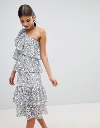 Missguided Tiered One Shoulder Midi Dress