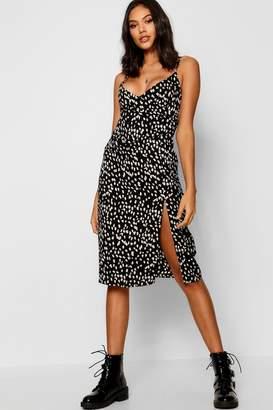 boohoo Animal Print Wrap Midi Dress