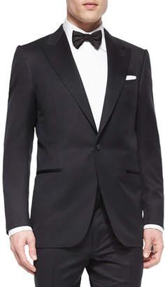 Ermenegildo Zegna One-Button Wool Tuxedo Jacket, Black