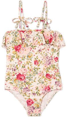 Zimmermann Kids - Honor Ruffled Floral-print Swimsuit - Pink