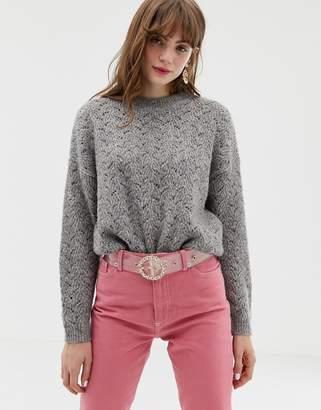 Monki textured round neck sweater in gray