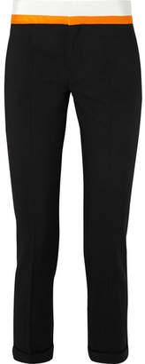 Haider Ackermann Grosgrain And Satin-trimmed Wool-blend Slim-leg Pants - Black