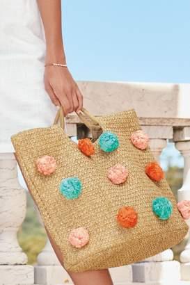 Next Womens Natural Pom Pom Beach Bag - Natural