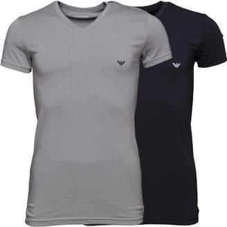 Emporio Armani Mens Two Pack T-Shirt Grey/Marine