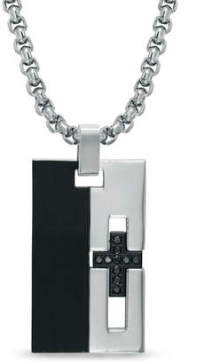 """Zales Men's Shaquille O'Neal 1/8 CT. T.W. Enhanced Black Diamond Cross Pendant in Two-Tone Stainless Steel - 24"""""""