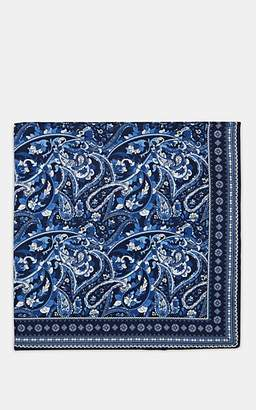 Paolo Albizzati Men's Paisley Silk Pocket Square - Navy