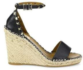 Valentino Rockstud Leather Espadrille Wedge Sandals