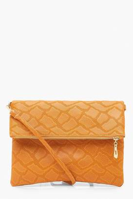 boohoo Faux Snake Foldover Clutch & Strap