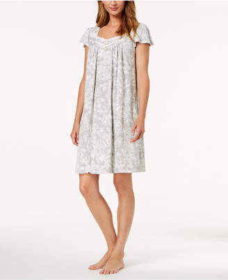 Charter Club Flutter-Sleeve Floral-Print Nightgown