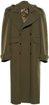 Vetements Exaggerated-shoulder twill coat