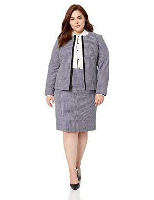 Le Suit Women's Jewel Neck Fly Away Plaid Tweed Skirt Suit