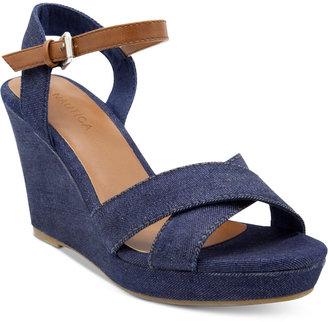 Nautica Longshore Platform Wedge Sandals Women's Shoes $49 thestylecure.com