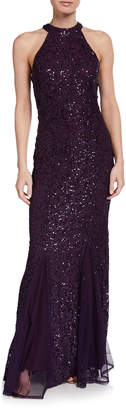 Marina Halter Neck Lace Sequin Mermaid Gown