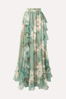 PatBO Ruffled Printed Georgette Maxi Skirt - Jade