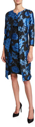 Albert Nipon Two-Piece Floral Jacquard Dress & Topper Set
