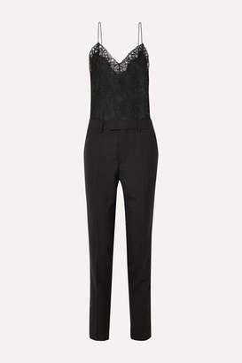 Philosophy di Lorenzo Serafini Satin-trimmed Grain De Poudre And Lace Jumpsuit - Black