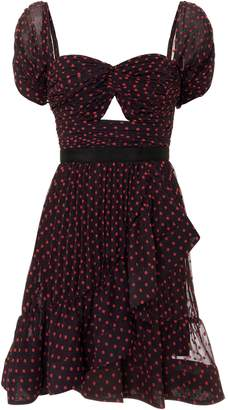 Self-Portrait Self Portrait Off Shoulder Dotted Mini Dress