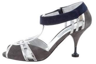 Prada Suede T-Strap Sandals