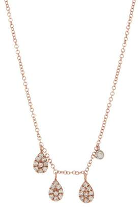 Meira T 14K Rose Gold Diamond Pave Drop Charm Necklace - 0.21 ctw
