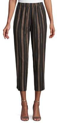 Forte Forte Masai Striped Metallic Cropped Pants