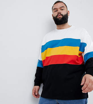 Asos DESIGN Plus oversized longline long sleeve t-shirt with bright color block in white