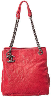 Chanel Red Quilted Caviar Leather Simply Cc Tote