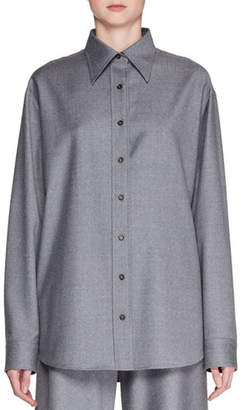 The Row Sean Button-Front Long-Sleeve Wool Shirt