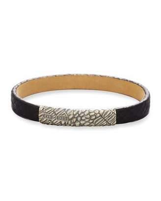 David Yurman Men's Alligator-Embossed Leather & Sterling Silver Bracelet, Black