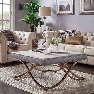 Weston Home Libby Smooth Top Cushion Ottoman Coffee Table with Champagne Gold Metal X-Base, Multiple Colors