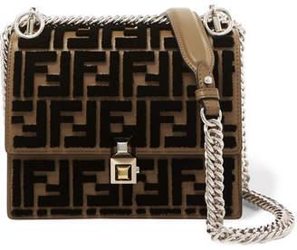 Fendi Kan I Small Flocked Leather Shoulder Bag - Brown