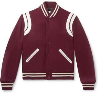 Saint Laurent Leather-trimmed Virgin Wool-blend Bomber Jacket - Burgundy