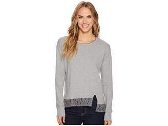 Mod-o-doc Heather Slub Rib Asymmetrical Seamed Sweatshirt with Lace Trim Women's Sweatshirt