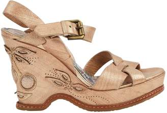 Anna Sui Gold Leather Sandals