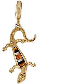 American West Gemstone Lizard Brass CharmBrass Charm