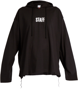 VETEMENTS X Hanes Staff hooded cotton sweatshirt $620 thestylecure.com