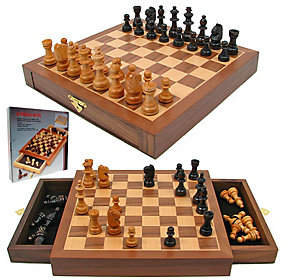 Trademark Games Inlaid Chess Board with Magnetic Staunton WoodChess Pieces