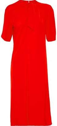 Maison Margiela Tie-Front Gathered Crepe De Chine Dress