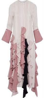 J.W.Anderson Ruffled Striped Silk Midi Dress