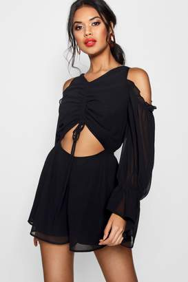 boohoo Zoe Ruched Front Cut Out Playsuit