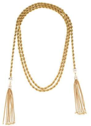Rachel Zoe Enamel & Crystal Tassel Wrap Necklace